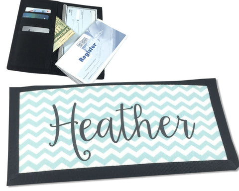 Personalized Checkbook Cover with Name on Chevron