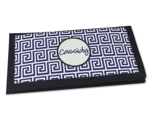 Personalized Checkbook Cover with Name Navy and White