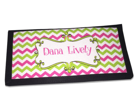 Preppy Personalized Checkbook Cover with Name Pink and Green