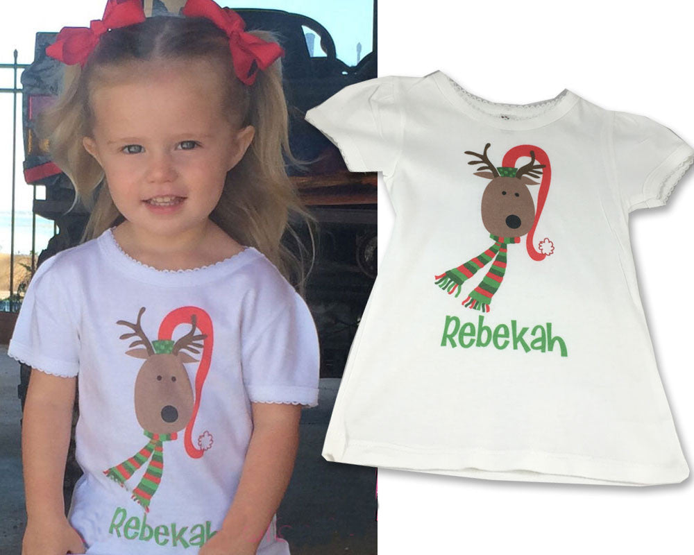 Personalized Toddler Tee Shirt with Reindeer Personalized with Name