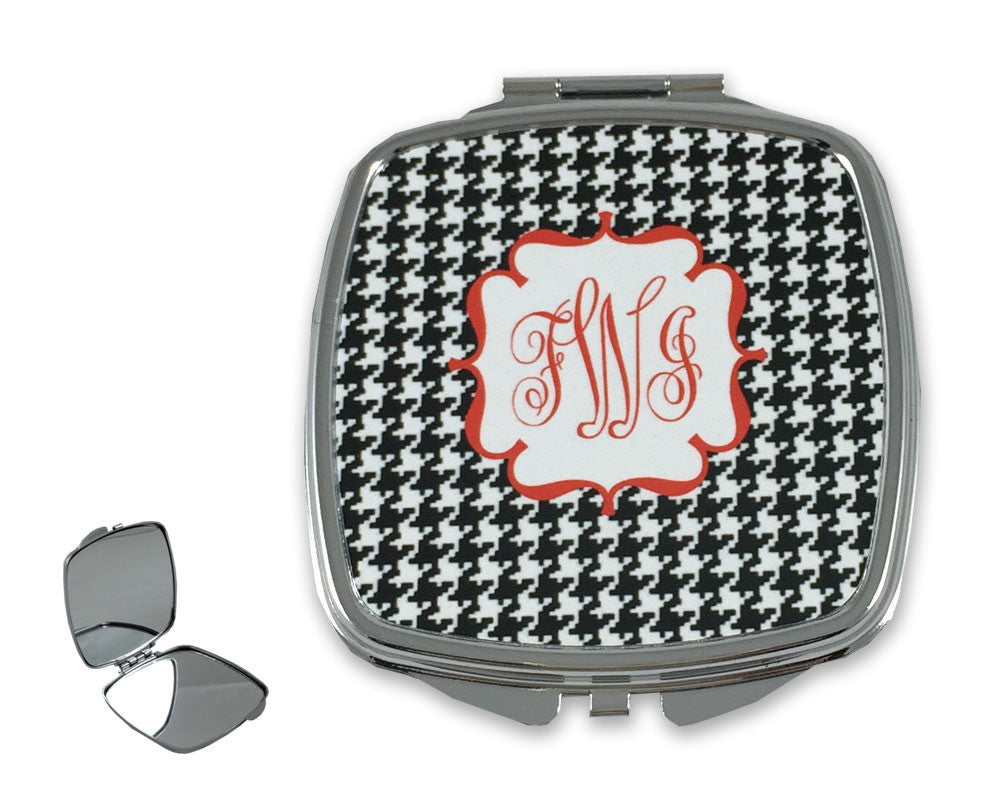 Houndstooth Monogram Mirror for Purse Compact Mirror with Intials