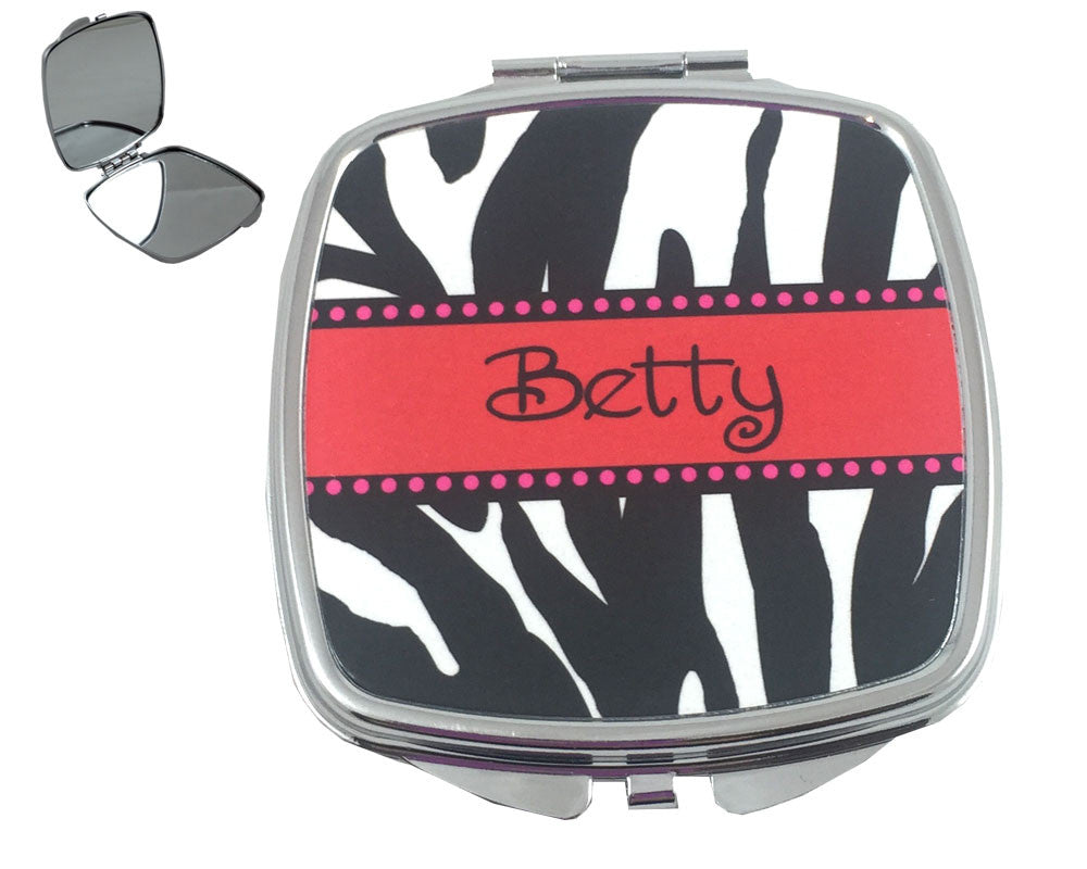 Personalized Compact Mirror with Name on Zebra Print