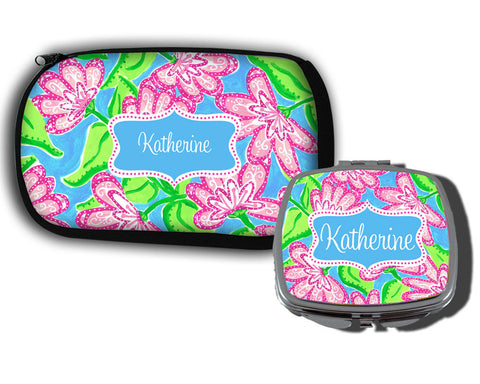 Personalized Makeup Bag and Compact Mirror with Name