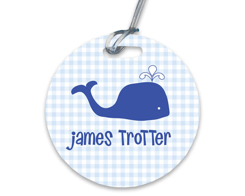 Baby Boy Diaper Bag Tag with Whale Personalized