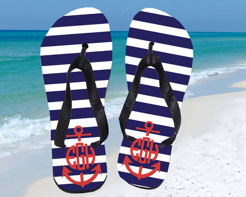 Flip Flops with Nautical Anchor Monogrammed for Women