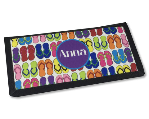 Checkbook Cover Personalized with Name on Flip Flop Pattern