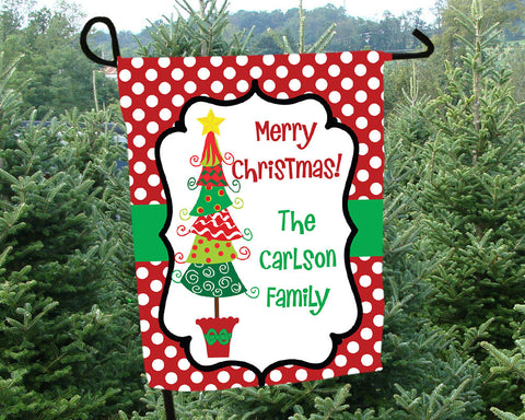 Christmas Garden Flag Personalized
