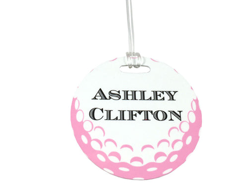Pink Golf Ball Bag Tag Personalized with Monogram for Ladies