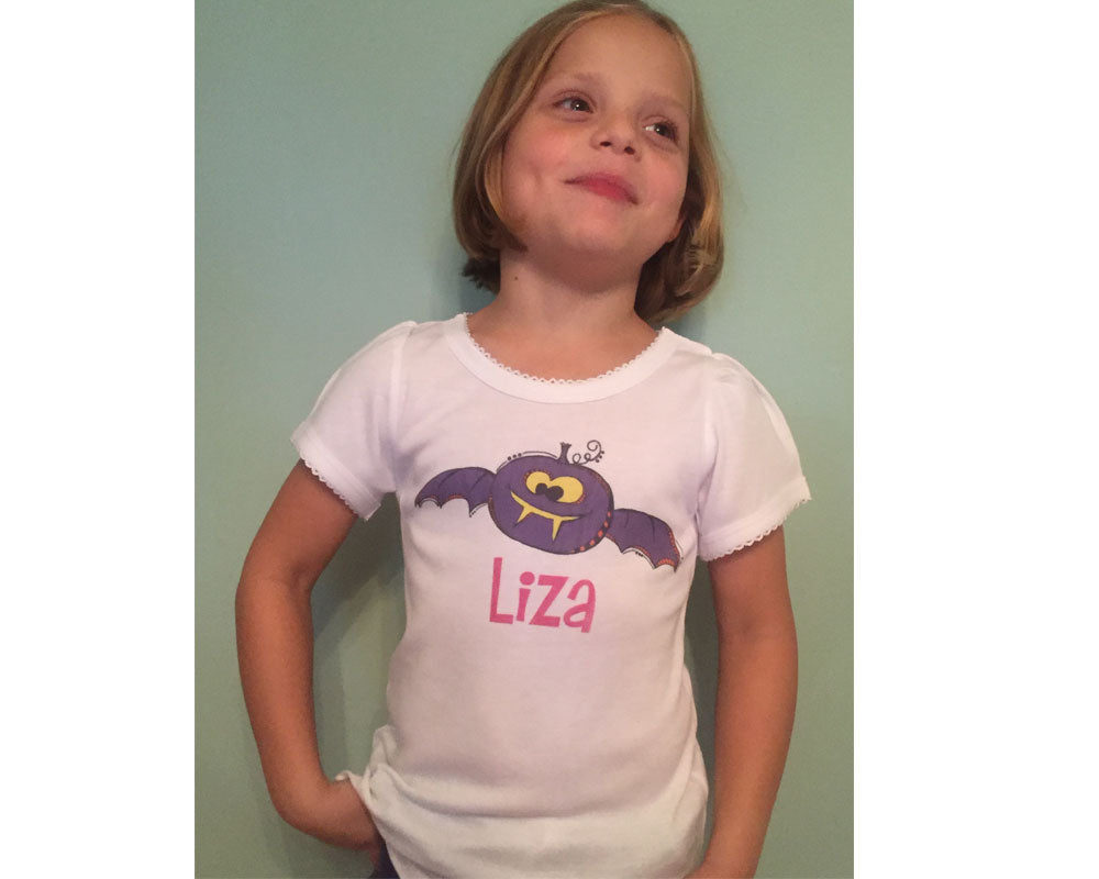 Halloween Toddler Tee Shirt Personalized for Girls with Pumpkin Bat