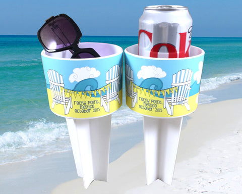 Honeymoon Beach Drink Holder Spiker Bride and Groom