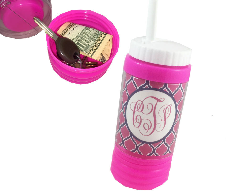 Hot Pink Sports Bottle with Straw Personalized