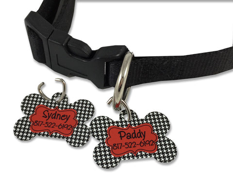 Houndstooth Pet ID Tag for Dogs Personalized with Pet Name and Phone