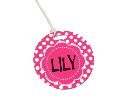 Polka Dot Personalized Girls Backpack Tag or Bag Tag with Name