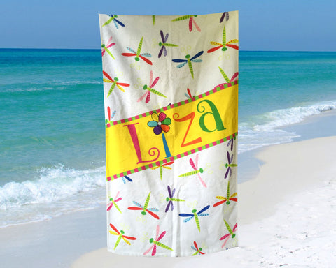 Beach Towel for Kids Dragonfly Design for Girls Personalized with Name