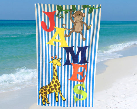 Personalized Beach Towel for Kids Jungle Animals