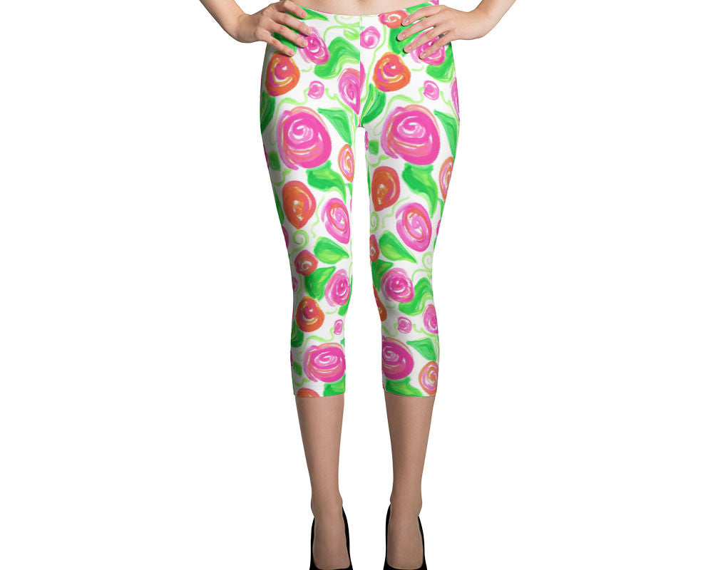 Workout Leggings for Women Exclusive Rose Pattern Designer Capri Leggings