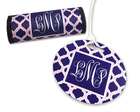 Monogrammed Luggage Tag and Luggage Finder Wrap Set