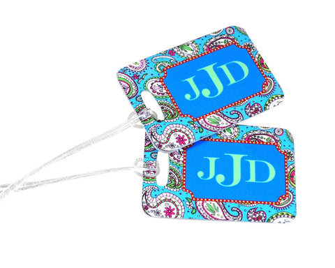 Monogrammed Bag Tag Custom Luggage Tag Paisley