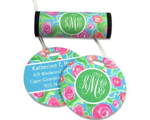 Luggage Tag and Luggage Finder Set Personalized with Monogram
