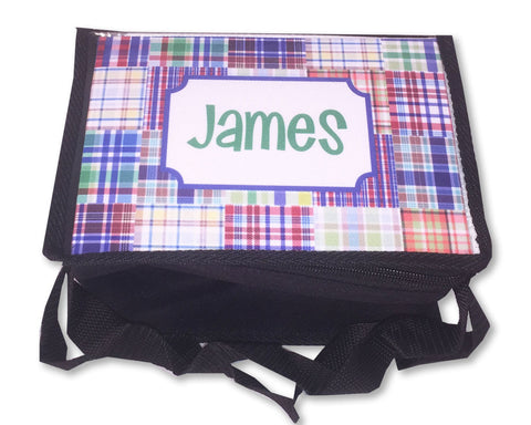 Personalized Lunch Tote for Boys Plaid Insulated Lunch Box