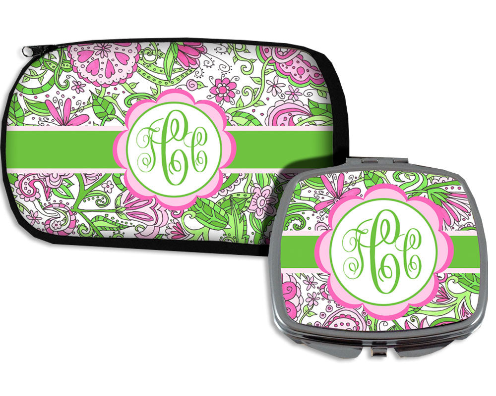Cosmetic Bag and Compact Mirror with Monogram on Flower Design