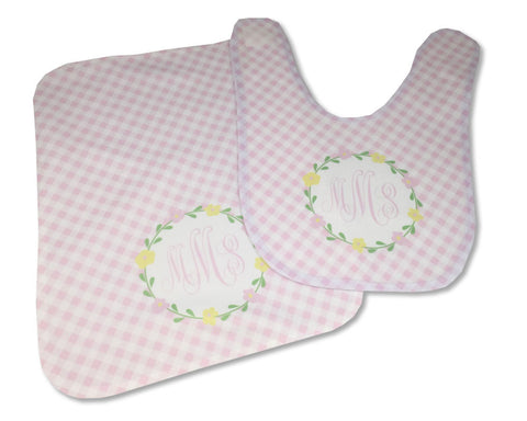Baby Bib and Burp Cloth Set Baby Girl Flower Frame Personalized with Monogram