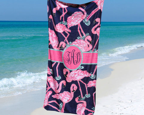 Monogrammed Beach Towel Pink Flamingos