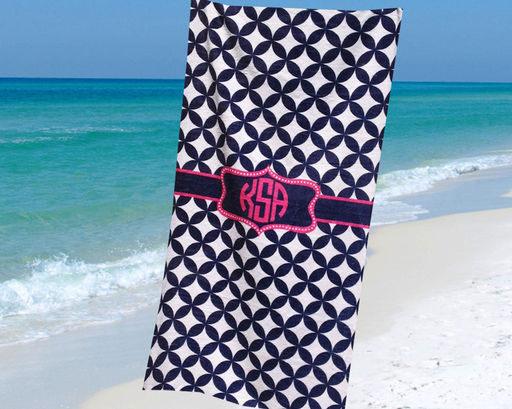 Monogram Beach Towel Navy and Hot Pink