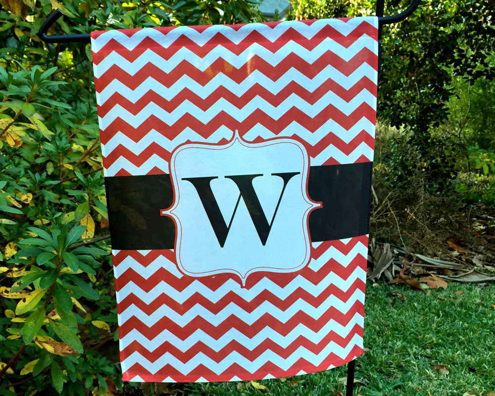 Garden Flag Personalized with Initial on Red Chevron