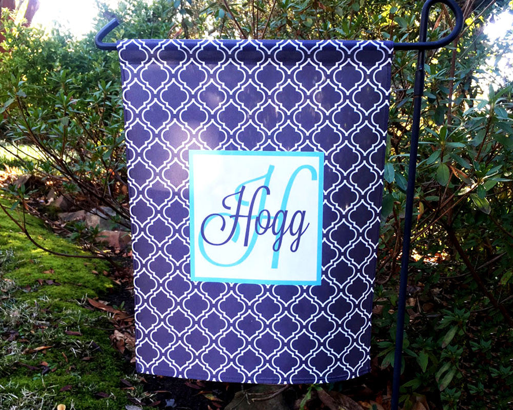 Custom Garden Flag with Name and Initial in Navy