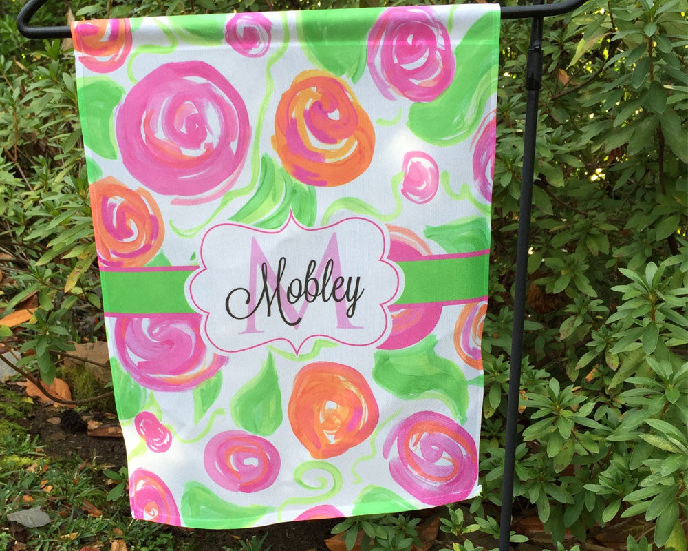 Garden Flag Personalized with Name and Initial