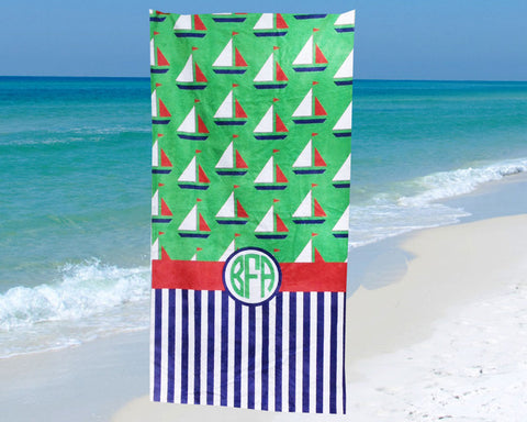 Beach Towel with Sailboats for Kids and Adults