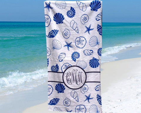 Seashell Beach Towel Personalized with Monogram in Blue and White