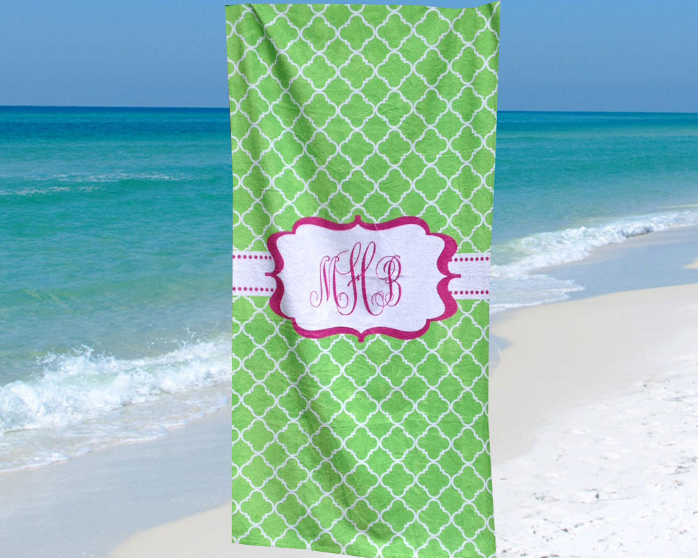 Monogram Beach Towel Personalized Pink and Green