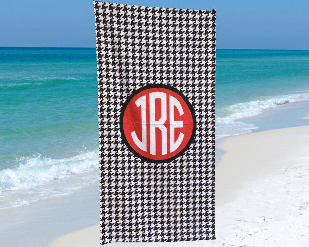 Houndstooth Beach Towel Personalized with Monogram