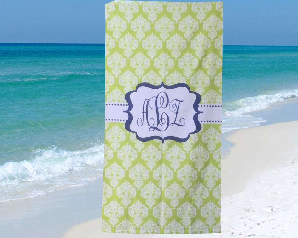 Monogram Beach Towel Lime Green Damask with Navy