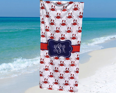 Beach Towel Personalized with Monogram on Red Crab Pattern