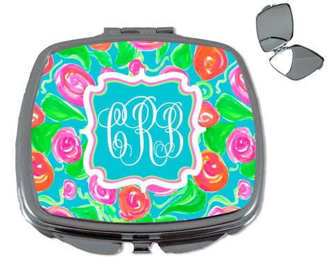 Compact Mirror Monogrammed Makeup Mirror for Purse