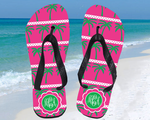 Monogram Flip Flops with Palm Trees for Women