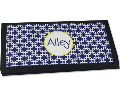 Checkbook Cover Personalized with Name Navy with Lime
