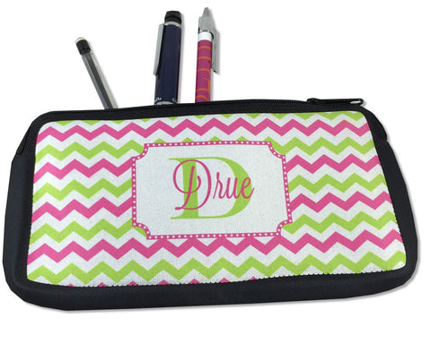 Personalized Pencil Holder with Name and Initial or Makeup Bag