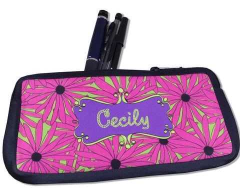 Personalized Pencil Case with Name Pink Daisies