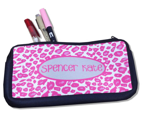 Pencil Case Personalized with Name Leopard Print