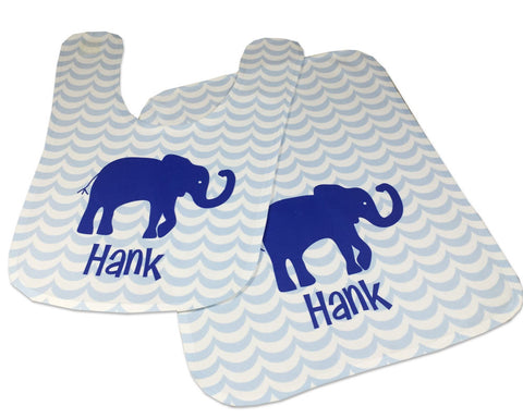 Personalized Baby Bib and Burp Cloth Set Elephant Bib for Baby Shower Gift Baby Boy