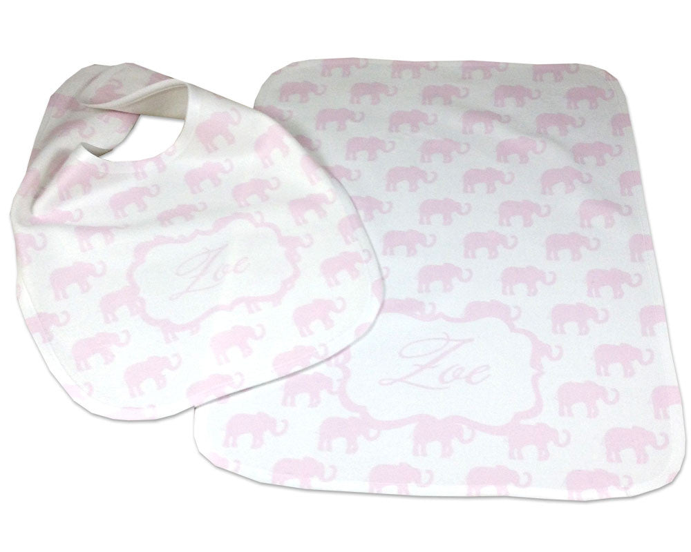 Personalized Baby Bib and Burp Cloth Set for Baby Girl Baby Shower Gift