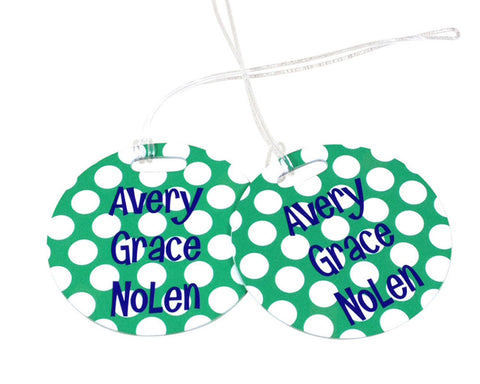 Personalized Girls Backpack Tag or Bag Tag Polka Dots with Name
