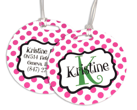 Girls Backpack Tag or Bag Tag Personalized with Name and Initial