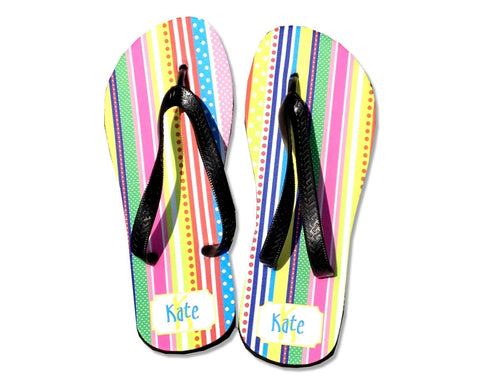 Flip Flops Personalized with Name on Bright Stripes for Women