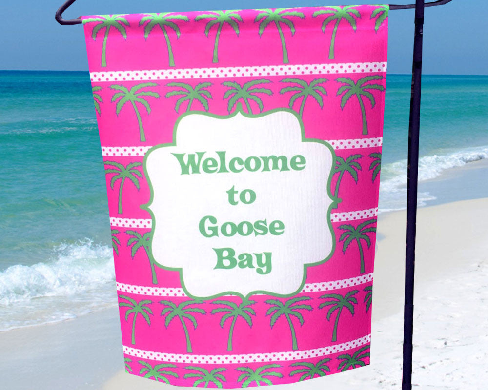 Personalized Beach House Flag Pink Palms
