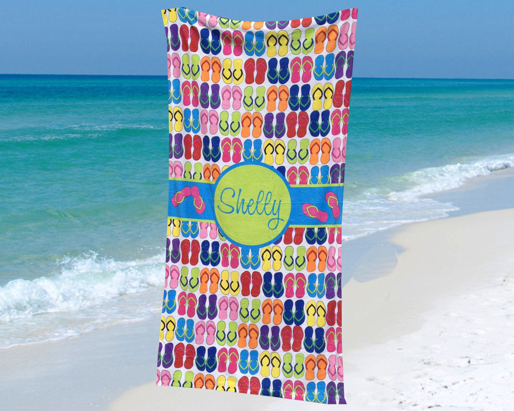 Beach Towel with Flip Flop Design Personalized with Name